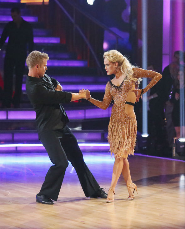 "<div class=""meta ""><span class=""caption-text "">Sean Lowe, Ingo Rademacher and their partners compete in a Rumba dance-off to earn three extra points from the judges on week seven of 'Dancing With The Stars' on April 29, 2013. (ABC Photo / Adam Taylor)</span></div>"