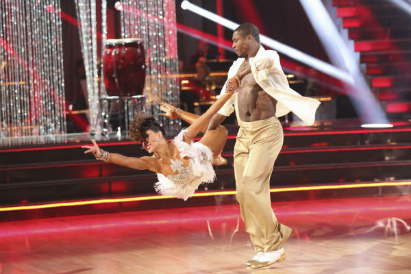 "<div class=""meta ""><span class=""caption-text "">NFL star Jacoby Jones and regular partner Karina Smirnoff dance the Salsa on week seven of 'Dancing With The Stars' on April 29, 2013. They received 27 out of 30 points from the judges. (ABC Photo / Adam Taylor)</span></div>"