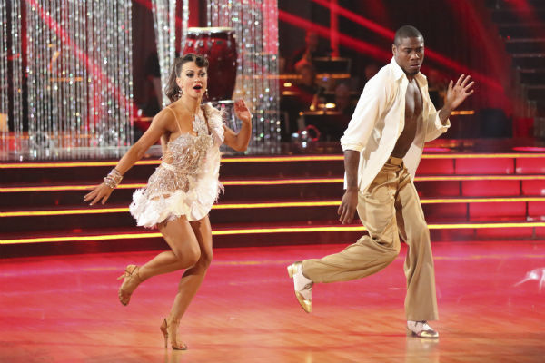 NFL star Jacoby Jones and regular partner Karina Smirnoff dance the Salsa on week seven of &#39;Dancing With The Stars&#39; on April 29, 2013. They received 27 out of 30 points from the judges. <span class=meta>(ABC Photo &#47; Adam Taylor)</span>