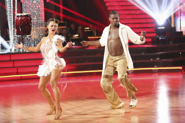 NFL star Jacoby Jones and regular partner Karina Smirnoff dance the Salsa on week seven of 'Dancing With The Stars' on April 29, 2013. They received 27 out of 30 points from the judges.