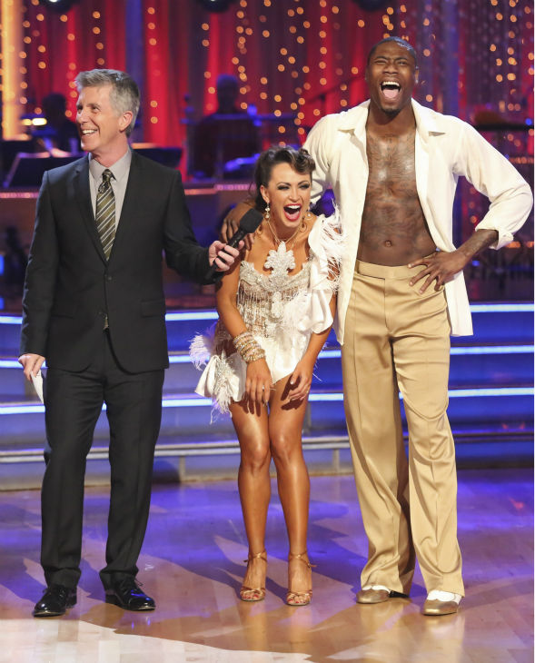 NFL star Jacoby Jones and regular partner Karina Smirnoff danced the Salsa on week seven of &#39;Dancing With The Stars&#39; on April 29, 2013. They received 27 out of 30 points from the judges. <span class=meta>(ABC Photo &#47; Adam Taylor)</span>