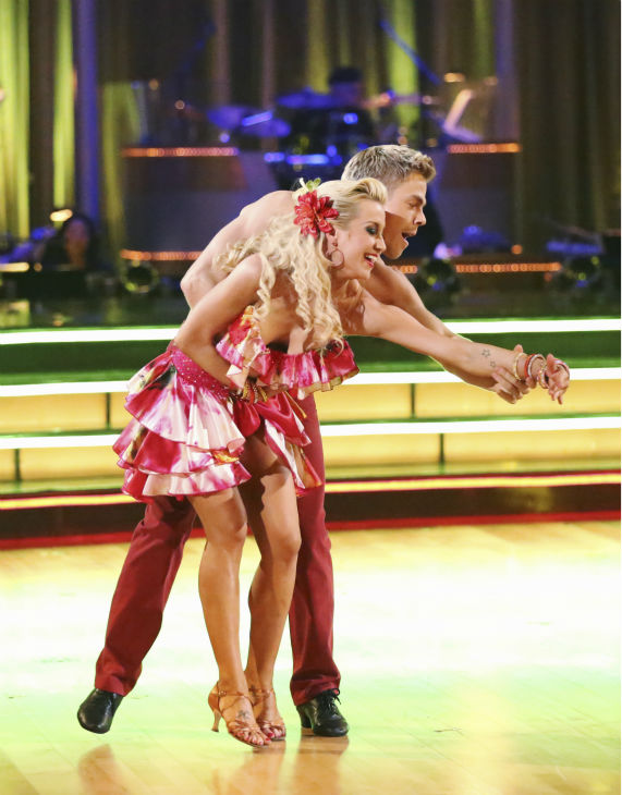 "<div class=""meta ""><span class=""caption-text "">Kellie Pickler and partner Derek Hough received 29 out of 30 points from the judges for their Samba dance during week seven of 'Dancing With The Stars,' which aired on April 29, 2013. As the couple with the highest cumulative score, they earned immunity from elimination this week. (ABC Photo / Adam Taylor)</span></div>"