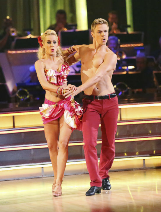 Kellie Pickler and partner Derek Hough received 29 out of 30 points from the judges for their Samba dance during week seven of &#39;Dancing With The Stars,&#39; which aired on April 29, 2013. As the couple with the highest cumulative score, they earned immunity from elimination this week. <span class=meta>(ABC Photo &#47; Adam Taylor)</span>