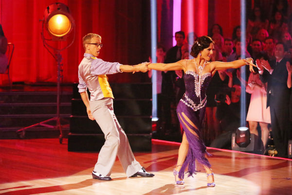 Actor and comedian Andy Dick and his partner Sharna Burgess dance the Rumba on week seven of 'Dancing With The Stars' on April 29, 2013. They received 17 out of 30 points from the judges.