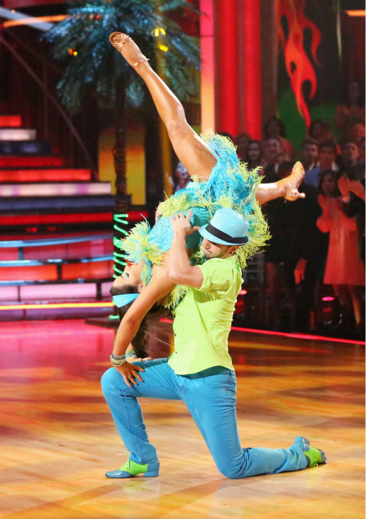 "<div class=""meta image-caption""><div class=""origin-logo origin-image ""><span></span></div><span class=""caption-text"">Olympic gymnast Aly Raisman and her partner Mark Ballas dance the Salsa on week seven of 'Dancing With The Stars' on April 29, 2013. They received 29 out of 30 points from the judges. (ABC Photo / Adam Taylor)</span></div>"