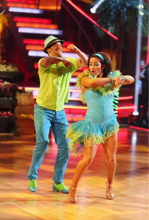 Olympic gymnast Aly Raisman and her partner Mark Ballas dance the Salsa on week seven of &#39;Dancing With The Stars&#39; on April 29, 2013. They received 29 out of 30 points from the judges. <span class=meta>(ABC Photo &#47; Adam Taylor)</span>