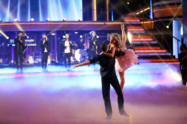The Wanted sings on 'Dancing With The Stars: The Results Show' on May 14, 2013 as pro dancers Blake McGrath and Tyne Stecklein perform.