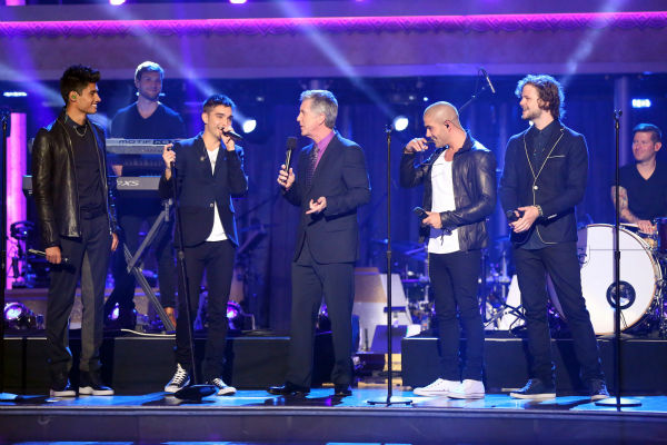 The Wanted appears on 'Dancing With The Stars: The Results Show' on May 14, 2013. Also pictured: Co-host Tom Bergeron.