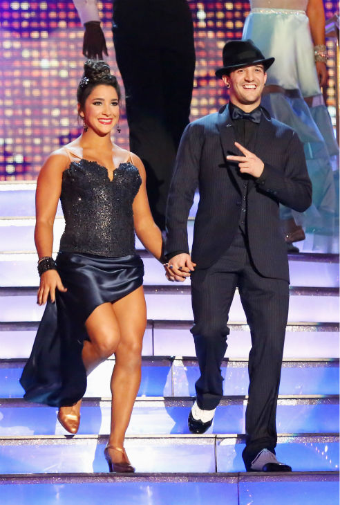 Olympic gymnast Aly Raisman and partner Mark Ballas appear on week eight of 'Dancing With The Stars' on May 6, 2013.