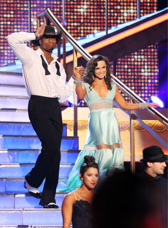 NFL star Jacoby Jones and partner Karina Smirnoff appear on week eight of 'Dancing With The Stars' on May 6, 2013.