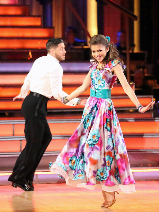 &#39;Shake It Up&#39; actress Zendaya and partner Val Chmerkovskiy dance the Foxtrot on week eight of &#39;Dancing With The Stars&#39; on May 6, 2013. They received 28 out of 30 points from the judges. <span class=meta>(ABC Photo &#47; Adam Taylor)</span>