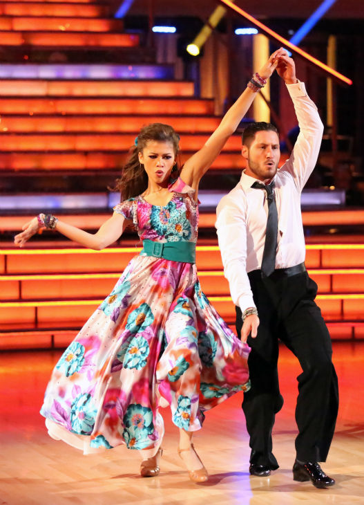 "<div class=""meta ""><span class=""caption-text "">'Shake It Up' actress Zendaya and partner Val Chmerkovskiy dance the Foxtrot on week eight of 'Dancing With The Stars' on May 6, 2013. They received 28 out of 30 points from the judges. (ABC Photo / Adam Taylor)</span></div>"
