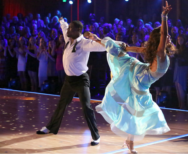 NFL star Jacoby Jones and partner Karina Smirnoff dance the Viennese Waltz on week eight of &#39;Dancing With The Stars&#39; on May 6, 2013. They received 27 out of 30 points from the judges. <span class=meta>(ABC Photo &#47; Adam Taylor)</span>