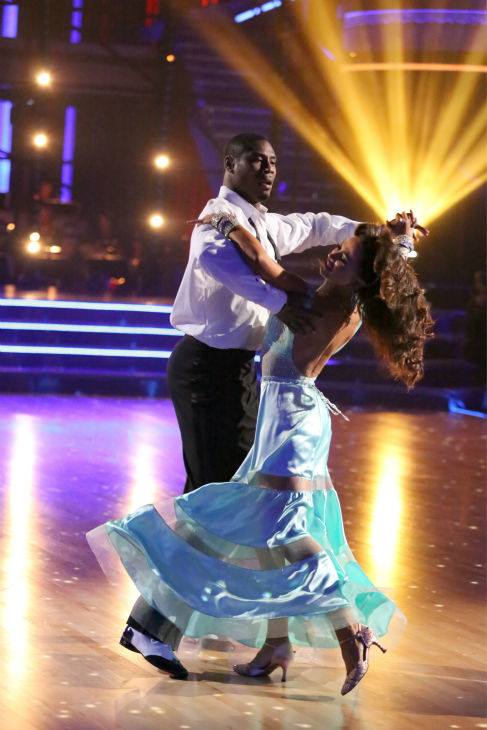 "<div class=""meta ""><span class=""caption-text "">NFL star Jacoby Jones and partner Karina Smirnoff dance the Viennese Waltz on week eight of 'Dancing With The Stars' on May 6, 2013. They received 27 out of 30 points from the judges. (ABC Photo/ Adam Taylor)</span></div>"