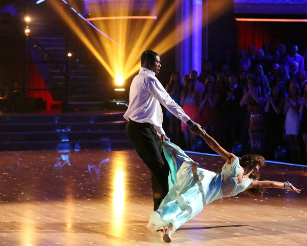 NFL star Jacoby Jones and partner Karina Smirnoff dance the Viennese Waltz on week eight of 'Dancing With The Stars' on May 6, 2013. They received 27 out of 30 points from the judges.