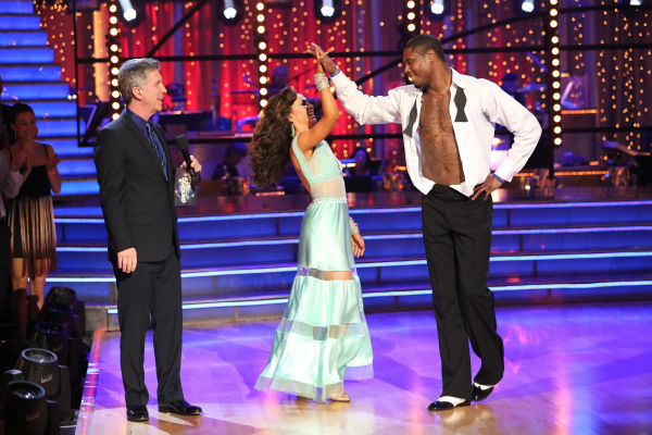 "<div class=""meta ""><span class=""caption-text "">NFL star Jacoby Jones and partner Karina Smirnoff danced the Viennese Waltz on week eight of 'Dancing With The Stars' on May 6, 2013. They received 27 out of 30 points from the judges. (ABC Photo / Adam Taylor)</span></div>"