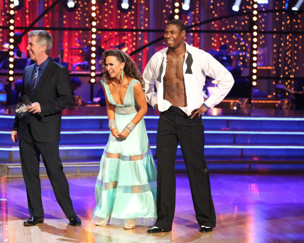 NFL star Jacoby Jones and partner Karina Smirnoff danced the Viennese Waltz on week eight of 'Dancing With The Stars' on May 6, 2013. They received 27 out of 30 points from the judges.