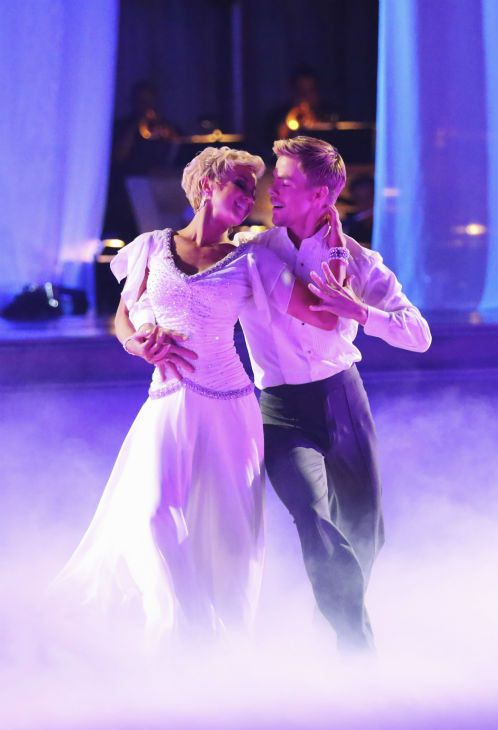Kellie Pickler and partner Derek Hough dance the Viennese Waltz on week eight of &#39;Dancing With The Stars&#39; on May 6, 2013. They received 28 out of 30 points from the judges. <span class=meta>(ABC Photo &#47; Adam Taylor)</span>