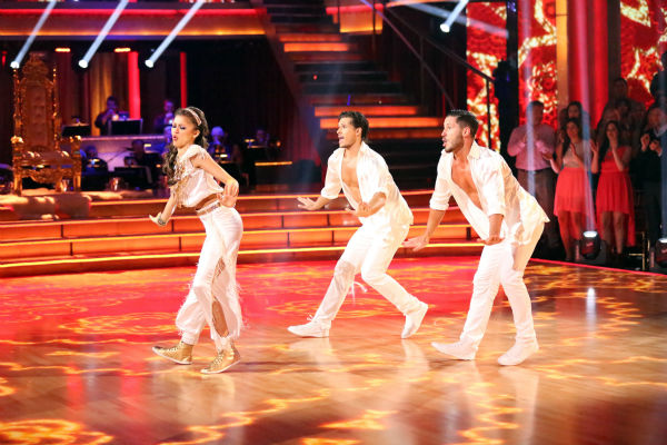 &#39;Shake It Up&#39; actress Zendaya and partner Val Chmerkovskiy dance a Salsa trio with Gleb Savchenko on week eight of &#39;Dancing With The Stars&#39; on May 6, 2013. They received 30 out of 30 points from the judges. The pair received 28 out of 30 points for their previous dance on this episode, the Foxtrot. Their total for the night was 58 out of 60. <span class=meta>(ABC Photo &#47; Adam Taylor)</span>