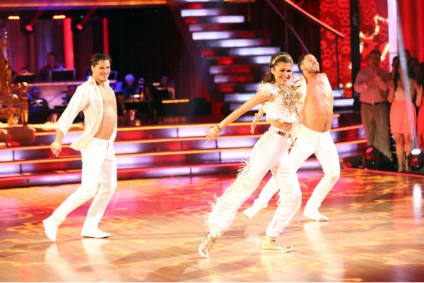 "<div class=""meta image-caption""><div class=""origin-logo origin-image ""><span></span></div><span class=""caption-text"">'Shake It Up' actress Zendaya and partner Val Chmerkovskiy dance a Salsa trio with Gleb Savchenko on week eight of 'Dancing With The Stars' on May 6, 2013. They received 30 out of 30 points from the judges. The pair received 28 out of 30 points for their previous dance on this episode, the Foxtrot. Their total for the night was 58 out of 60. (ABC Photo / Adam Taylor)</span></div>"