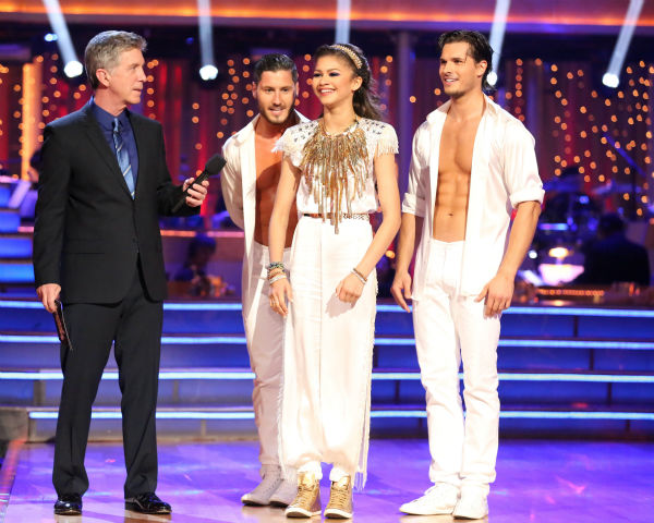 &#39;Shake It Up&#39; actress Zendaya and partner Val Chmerkovskiy danced a Salsa trio with Gleb Savchenko on week eight of &#39;Dancing With The Stars&#39; on May 6, 2013. They received 30 out of 30 points from the judges.  The pair received 28 out of 30 points for their previous dance on this episode, the Foxtrot. Their total for the night was 58 out of 60. <span class=meta>(ABC Photo &#47; Adam Taylor)</span>