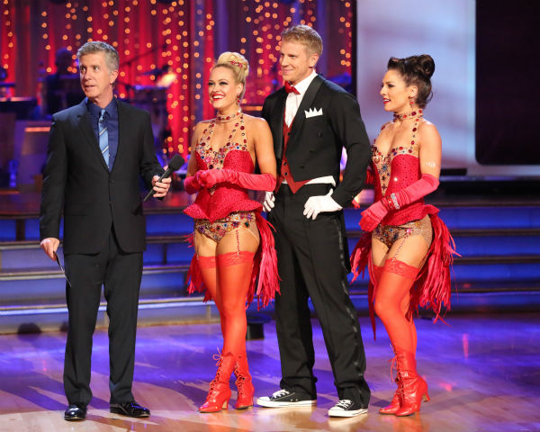 "<div class=""meta ""><span class=""caption-text "">Former 'Bachelor' star Sean Lowe and his partner Peta Murgatroyd danced a Jazz trio with Sharna Burgess on week eight of 'Dancing With The Stars' on May 6, 2013. They received 21 out of 30 points. The pair received 21 out of 30 points for their previous dance on this episode, the Tango. Their total for the night was 42 out of 60. (ABC Photo / Adam Taylor)</span></div>"
