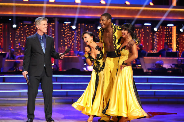 NFL star Jacoby Jones and partner Karina Smirnoff danced a Paso Doble trio with Cheryl Burke on week eight of &#39;Dancing With The Stars&#39; on May 6, 2013. They received 25 out of 30 points from the judges.  The pair received 27 out of 30 points for their previous dance on this episode, the Viennese Waltz. Their total for the night was 52 out of 60. <span class=meta>(ABC Photo &#47; Adam Taylor)</span>