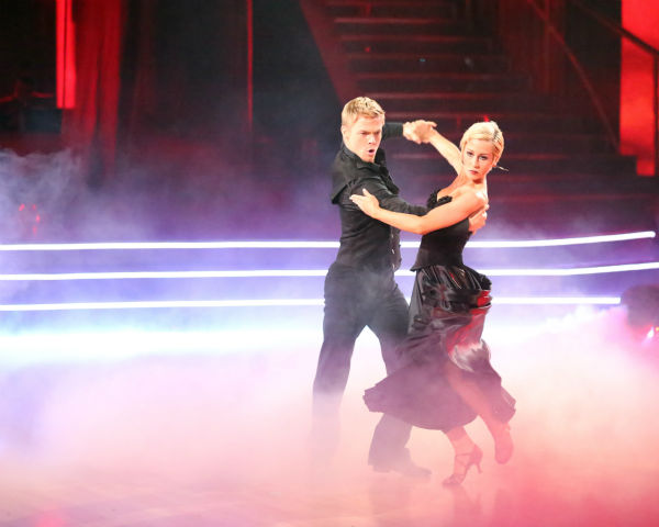 "<div class=""meta image-caption""><div class=""origin-logo origin-image ""><span></span></div><span class=""caption-text"">Kellie Pickler and partner Derek Hough received 27 out of 30 points from the judges for their Paso Doble trio dance during week eight of 'Dancing With The Stars,' which aired on May 6, 2013. The pair received 28 out of 30 points for their previous dance on this episode, the Viennese Waltz. Their total for the night was 55 out of 60. (ABC Photo / Adam Taylor)</span></div>"
