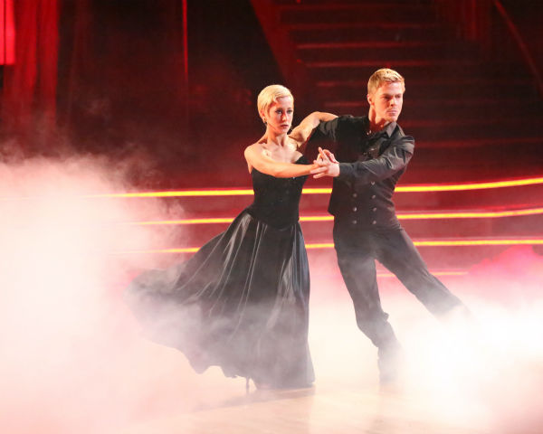 Kellie Pickler and partner Derek Hough received 27 out of 30 points from the judges for their Paso Doble trio dance during week eight of &#39;Dancing With The Stars,&#39; which aired on May 6, 2013. The pair received 28 out of 30 points for their previous dance on this episode, the Viennese Waltz. Their total for the night was 55 out of 60. <span class=meta>(ABC Photo &#47; Adam Taylor)</span>