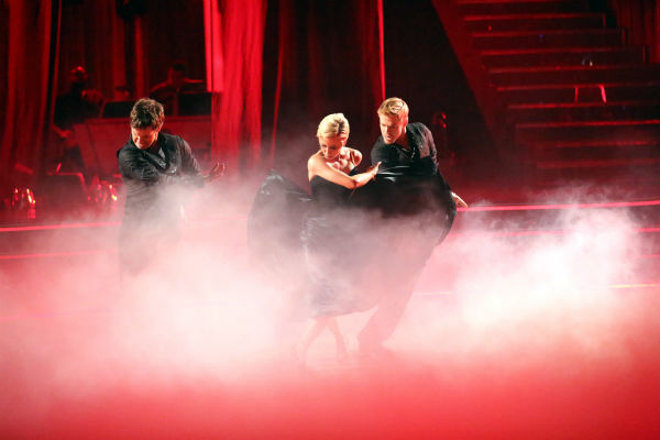 "<div class=""meta ""><span class=""caption-text "">Kellie Pickler and partner Derek Hough received 27 out of 30 points from the judges for their Paso Doble trio dance during week eight of 'Dancing With The Stars,' which aired on May 6, 2013. The pair received 28 out of 30 points for their previous dance on this episode, the Viennese Waltz. Their total for the night was 55 out of 60. (ABC Photo / Adam Taylor)</span></div>"