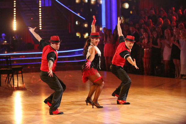 "<div class=""meta image-caption""><div class=""origin-logo origin-image ""><span></span></div><span class=""caption-text"">Olympic gymnast Aly Raisman and her partner Mark Ballas danced a Jive trio with Henry Bialikov on week eight of 'Dancing With The Stars' on May 6, 2013. They received 27 out of 30 points from the judges. The pair received 29 out of 30 points for their previous dance on this episode, the Argentine Tango. Their total for the night was 56 out of 60. (ABC Photo / Adam Taylor)</span></div>"