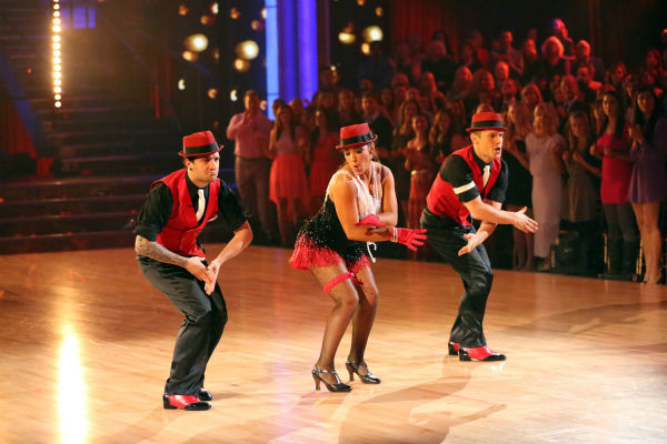 Olympic gymnast Aly Raisman and her partner Mark Ballas danced a Jive trio with Henry Bialikov on week eight of &#39;Dancing With The Stars&#39; on May 6, 2013. They received 27 out of 30 points from the judges. The pair received 29 out of 30 points for their previous dance on this episode, the Argentine Tango. Their total for the night was 56 out of 60. <span class=meta>(ABC Photo &#47; Adam Taylor)</span>
