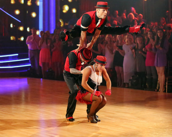 "<div class=""meta image-caption""><div class=""origin-logo origin-image ""><span></span></div><span class=""caption-text"">Olympic gymnast Aly Raisman and her partner Mark Ballas dance a Jive trio with Henry Bialikov on week eight of 'Dancing With The Stars' on May 6, 2013. They received 27 out of 30 points from the judges. The pair received 29 out of 30 points for their previous dance on this episode, the Argentine Tango. Their total for the night was 56 out of 60. (ABC Photo / Adam Taylor)</span></div>"