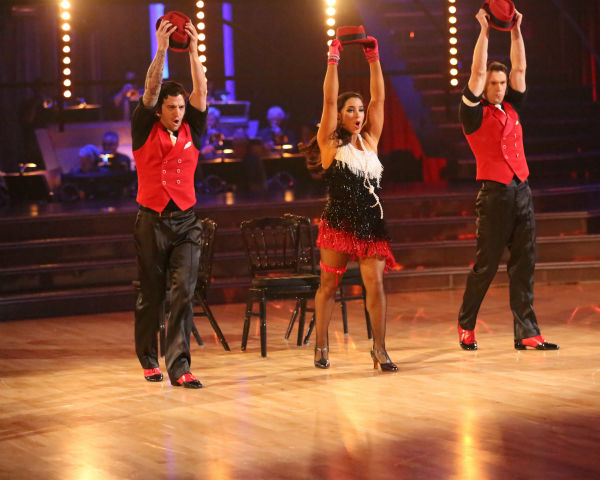 Olympic gymnast Aly Raisman and her partner Mark Ballas dance a Jive trio with Henry Bialikov on week eight of &#39;Dancing With The Stars&#39; on May 6, 2013. They received 27 out of 30 points from the judges. The pair received 29 out of 30 points for their previous dance on this episode, the Argentine Tango. Their total for the night was 56 out of 60. <span class=meta>(ABC Photo &#47; Adam Taylor)</span>