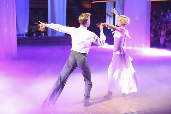 Kellie Pickler and partner Derek Hough received 28 out of 30 points from the judges for their Viennese Waltz during week eight of 'Dancing With The Stars,' which aired on May 6, 2013.