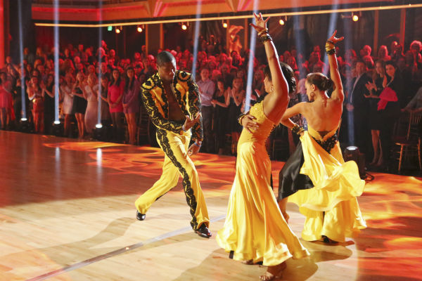 "<div class=""meta ""><span class=""caption-text "">NFL star Jacoby Jones and partner Karina Smirnoff dance a Paso Doble trio with Cheryl Burke on week eight of 'Dancing With The Stars' on May 6, 2013. They received 25 out of 30 points from the judges. The pair received 27 out of 30 points for their previous dance on this episode, the Viennese Waltz. Their total for the night was 52 out of 60. (ABC Photo / Adam Taylor)</span></div>"