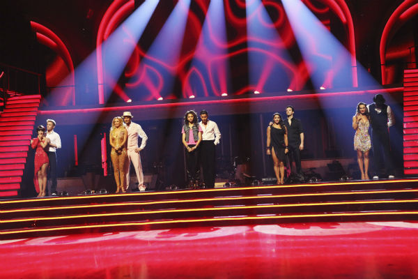 "<div class=""meta ""><span class=""caption-text "">The remaining five couples await their fate on 'Dancing With The Stars: The Results Show' on May 14, 2013. (ABC Photo / Adam Taylor)</span></div>"