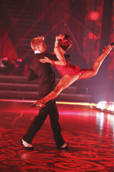 Kellie Pickler and Derek Hough perform an encore of their Argentine Tango on 'Dancing With The Stars: The Results Show' on May 14, 2013.