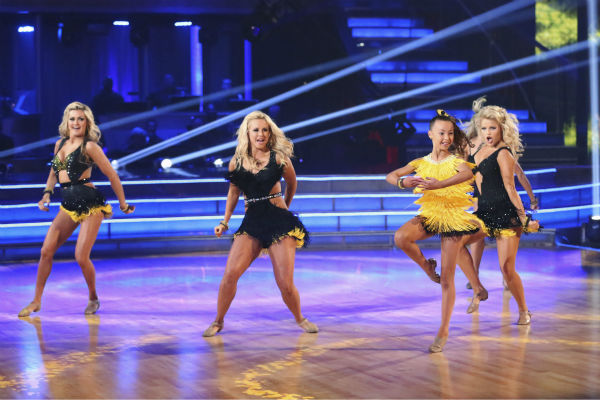 &#39;AT and T Spotlight Performance&#39; returns for its final installment, which features 10-year-old Sophia Lucia, who set the Guinness World Record for consecutive pirouettes, on &#39;Dancing With The Stars: The Results Show&#39; on May 14, 2013. Also pictured: Pro dancers Lindsay Arnold, Chelsie Hightower and Witney Carson. <span class=meta>(ABC Photo &#47; Adam Taylor)</span>
