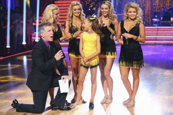 &#39;AT and T Spotlight Performance&#39; returns for its final installment, which features 10-year-old Sophia Lucia, who set the Guinness World Record for consecutive pirouettes, on &#39;Dancing With The Stars: The Results Show&#39; on May 14, 2013. Also pictured: Pro dancers Lindsay Arnold, Chelsie Hightower and Witney Carson and co-host Tom Bergeron. <span class=meta>(ABC Photo &#47; Adam Taylor)</span>