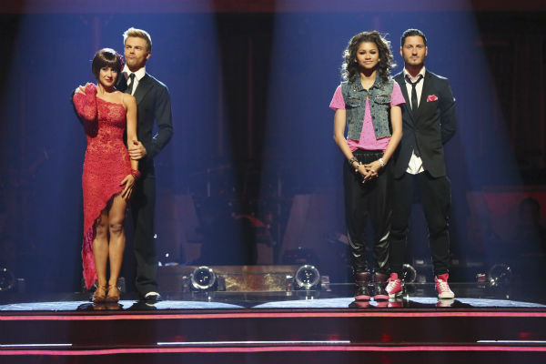 Kellie Pickler and Derek Hough and Zendaya and Val Chmerkovskiy await their fate on &#39;Dancing With The Stars: The Results Show&#39; on May 14, 2013. <span class=meta>(ABC Photo &#47; Adam Taylor)</span>