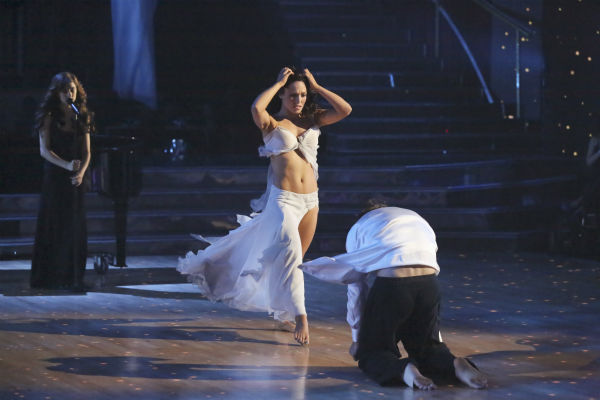 Christina Grimmie performed 'Take Care' accompanied by professional dancers, Sharna Burgess and Gleb Savchenko, on 'Dancing With The Stars: The Results Show' on May 14, 2013.