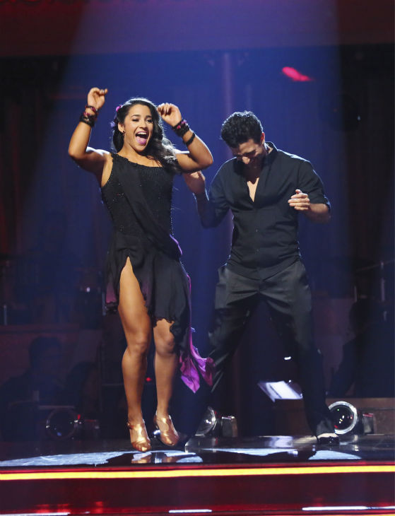 Olympic gymnast Aly Raisman and her partner Mark Ballas react to being safe on 'Dancing With The Stars: The Results Show' on May 14, 2013.