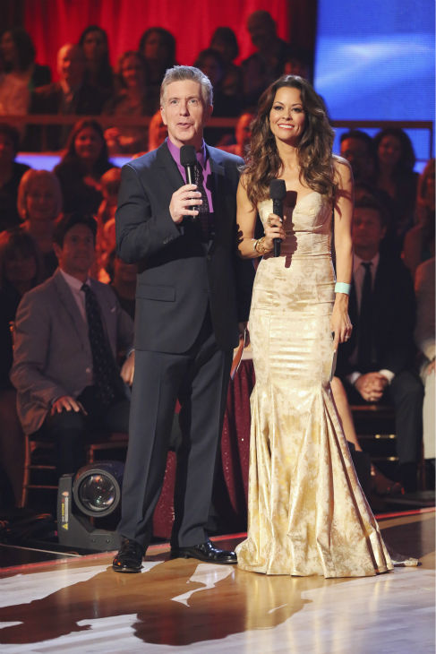 Co-hosts Tom Bergeron and Brooke Burke-Charvet appear on 'Dancing With The Stars: The Results Show' on May 14, 2013.