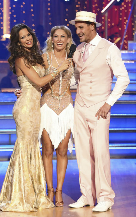 'General Hospital' actor Ingo Rademacher and Kym Johnson react to being eliminated on 'Dancing With The Stars: The Results Show' on May 14, 2013. Also pictured co-host Brooke Burke-Charvet.