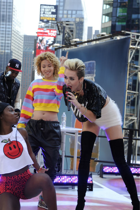 "<div class=""meta image-caption""><div class=""origin-logo origin-image ""><span></span></div><span class=""caption-text"">Miley Cyrus performs live on ABC's 'Good Morning America' on June 26, 2013. (Donna Svennevik / ABC)</span></div>"