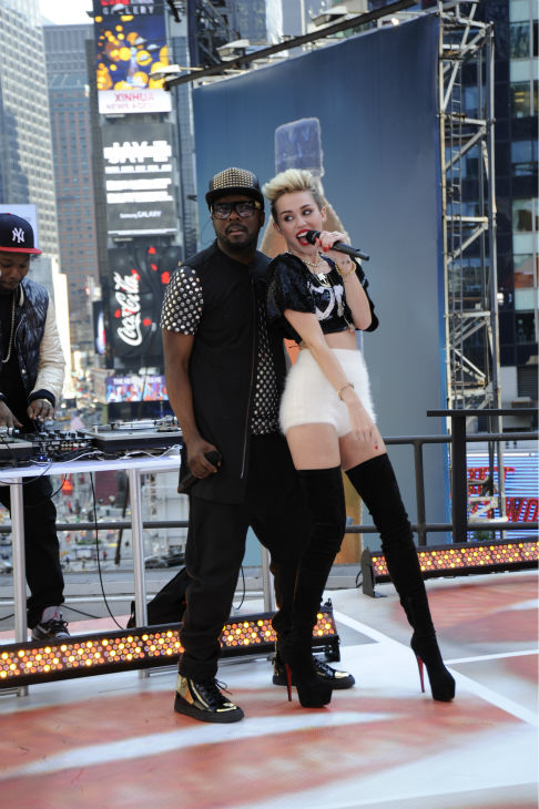 Miley Cyrus and will.i.am perform live on ABC's 'Good Morning America' on June 26, 2013.