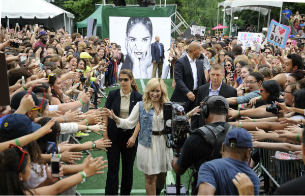 "<div class=""meta ""><span class=""caption-text "">Demi Lovato arrives for her performance in New York City's Central Park on ABC's 'Good Morning America' ('GMA') on June 28, 2013. (ABC / Donna Svennevik)</span></div>"