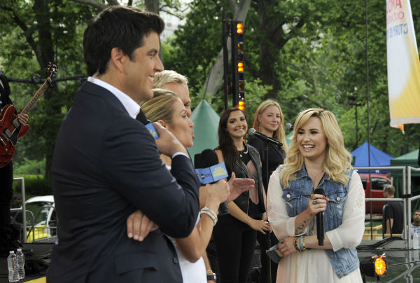 "<div class=""meta image-caption""><div class=""origin-logo origin-image ""><span></span></div><span class=""caption-text"">GOOD MORNING AMERICA - Demi Lovato performs live from Central Park on ""Good Morning America,"" 6/28/13, airing on the ABC Television Network.   (ABC/Donna Svennevik) JOSH ELLIOTT, AMY ROBACH, SAM CHAMPION, DEMI LOVATO (ABC / Donna Svennevik)</span></div>"