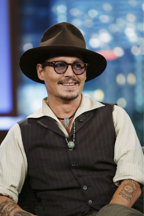 Johnny Depp talks to host Jimmy Kimmel on the ABC late-night talk show &#39;Jimmy Kimmel Live!&#39; on July 1, 2013. Depp appeared on the program to promote the new Disney film &#39;The Lone Ranger,&#39; in which he plays Tonto. <span class=meta>(ABC &#47; Randy Holmes)</span>